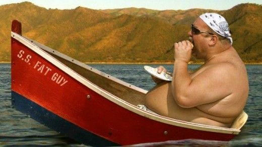 fat guy in boat