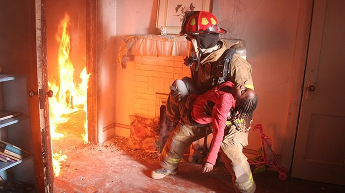 firefighter saving life