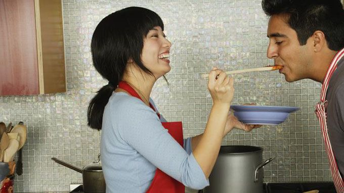 When a girl cooks for a guy, he knows that he means a lot to her