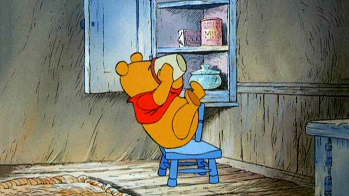 Winnie-the-Pooh- easy words like What about lunch