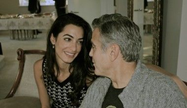 Amal Alamuddin and George Clooney in Africa (Getty Images)