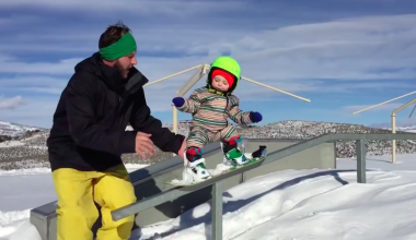 Talented 14-Month-Old Stuns Parents With Incredible Snowboarding Skills