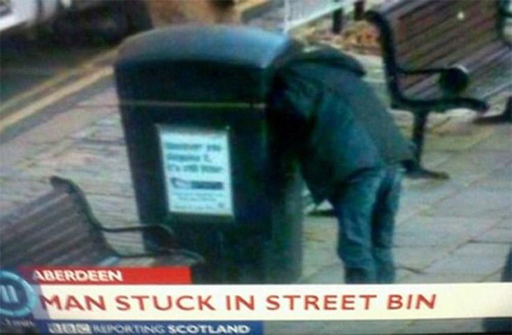 Stuck in a Street Bin